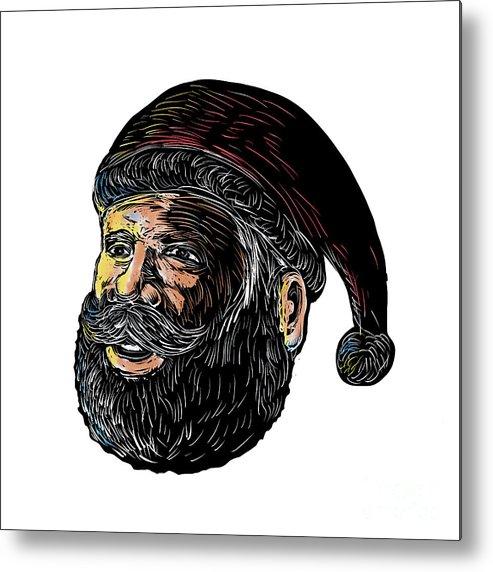 Scratchboard Metal Print featuring the digital art Santa Claus Three-quarter View Scratchboard by Aloysius Patrimonio