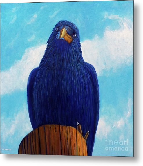 Raven Metal Print featuring the painting Santa Fe Smile by Brian Commerford
