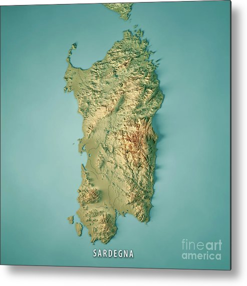 Islands Of Italy Map.Sardinia Island Italy 3d Render Topographic Map Metal Print By Frank