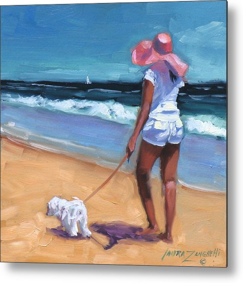 Seascape Metal Print featuring the painting Sassy Jr by Laura Lee Zanghetti