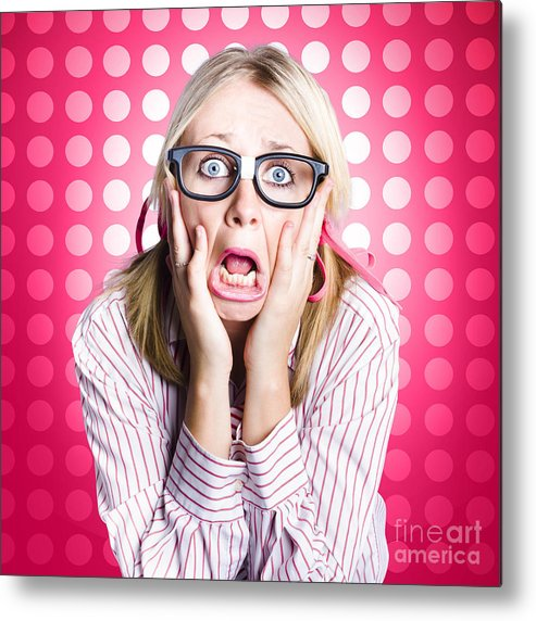 Afraid Metal Print featuring the photograph Scared Goofy Business Person Expressing Fear by Jorgo Photography - Wall Art Gallery
