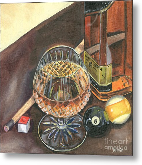 Scotch Metal Print featuring the painting Scotch Cigars And Pool by Debbie DeWitt