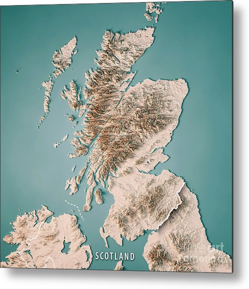 Scotland Country 3d Render Topographic Map Neutral Border Metal