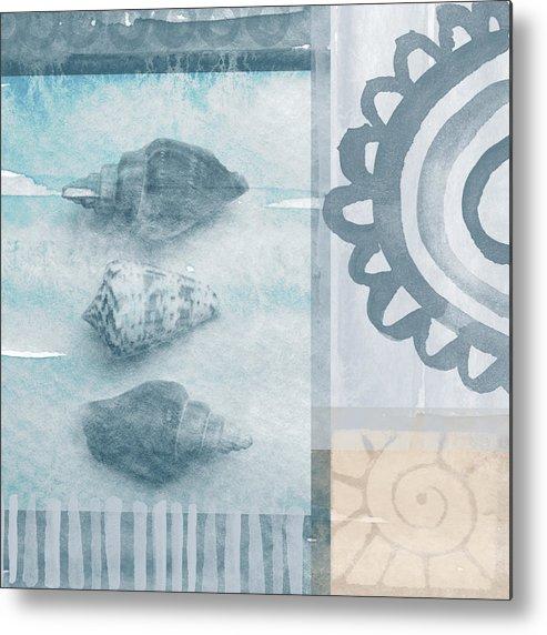 Beach Metal Print featuring the painting Seashells 2 by Linda Woods