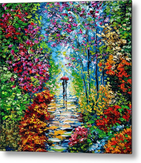 Oil Paining Metal Print featuring the painting Secret Garden Oil Painting - B. Sasik by Beata Sasik