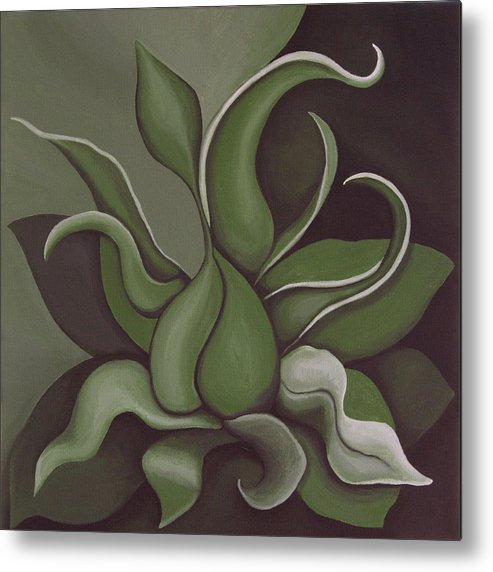 Green Metal Print featuring the painting Seed by Bonnie Kelso