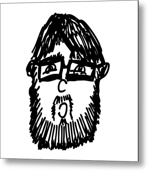 Drawing Metal Print featuring the drawing Self Comic Drawing by Karl Addison