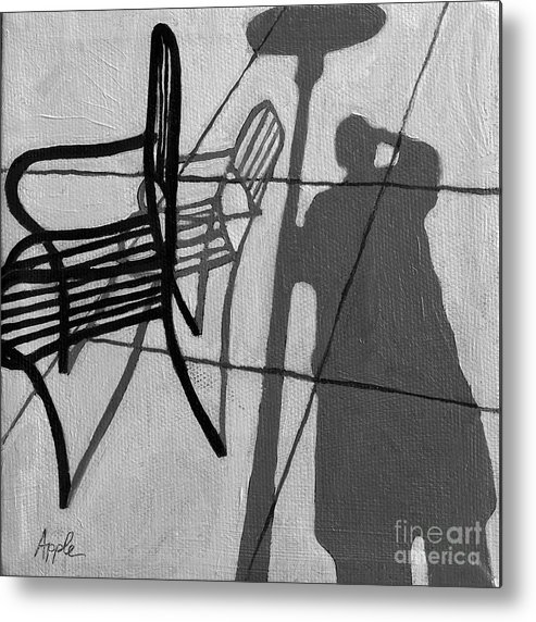 Portrait Artwork Metal Print featuring the painting Self Portrait - Cafe Shadows Painting by Linda Apple