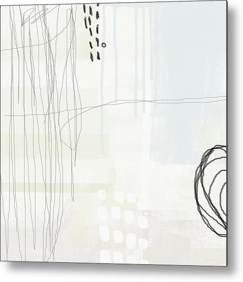 Abstract Metal Print featuring the painting Shades Of White 1 - Art By Linda Woods by Linda Woods