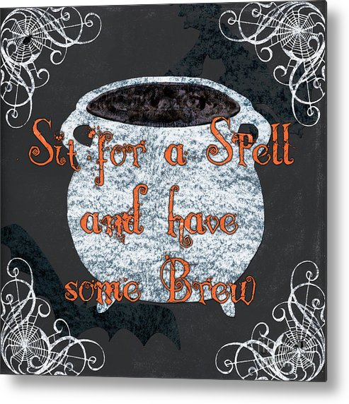 Spell Metal Print featuring the painting Sit For A Spell by Debbie DeWitt