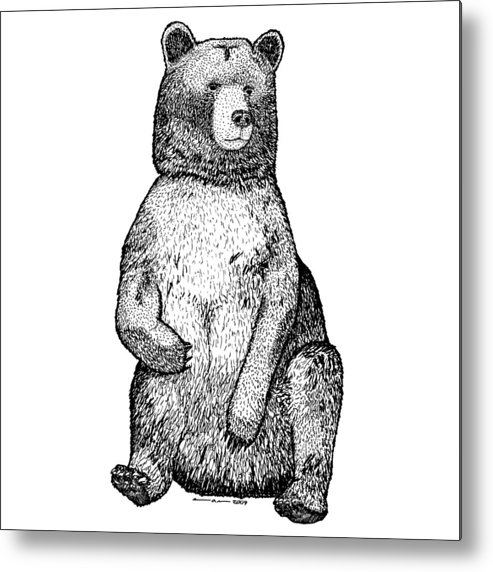 Drawing Metal Print featuring the drawing Sitting Bear by Karl Addison