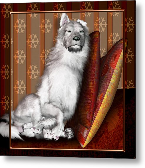 Dog Metal Print featuring the digital art Sleeping Iv by Nik Helbig