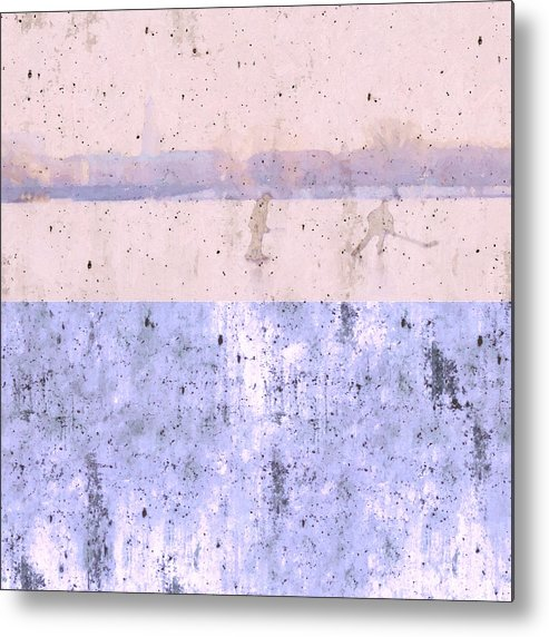 Snow Fun Hockey Ice Winter People City Cityscape Abstract Texture Expressionism Cement Landscape Metal Print featuring the painting Snow Fun by Steve K
