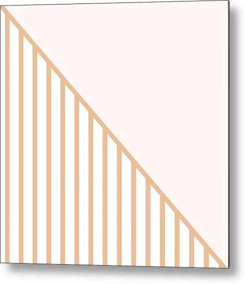 Pink Metal Print featuring the digital art Soft Blush And Coral Stripe Triangles by Linda Woods