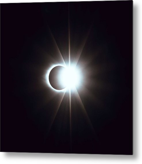 Sun Metal Print featuring the painting Solar Eclipse, Diamond Ring 2 by Celestial Images