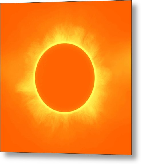 Sun Metal Print featuring the painting Solar Eclipse In Daffodil Color by Celestial Images