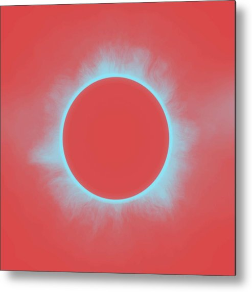 Sun Metal Print featuring the painting Solar Eclipse In Reddish Pink by Celestial Images