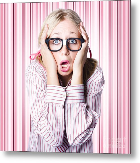 Adult Metal Print featuring the photograph Speechless Nerd Covering Ears In Silent Shock by Jorgo Photography - Wall Art Gallery