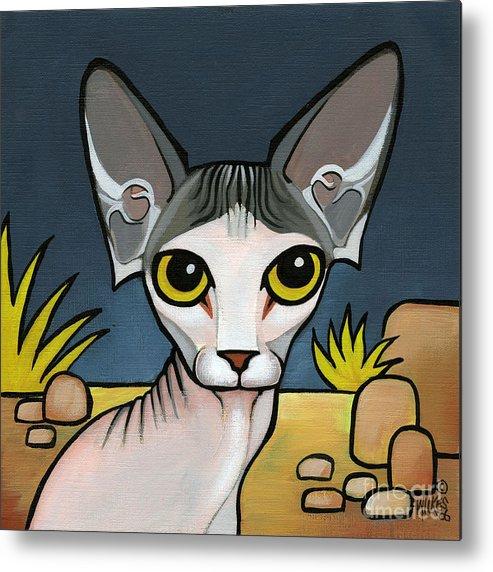 Sphinx Cat Metal Print featuring the painting Sphinx Cat by Leanne Wilkes