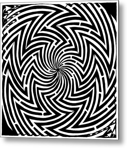 Spinning Metal Print featuring the drawing Spinning Optical Illusion Maze by Yonatan Frimer Maze Artist