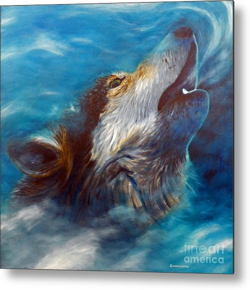Wolf Metal Print featuring the painting Spirit Of The Wolf by Brian Commerford
