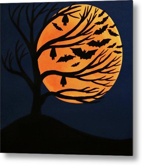 Spooky Bat Tree Metal Print