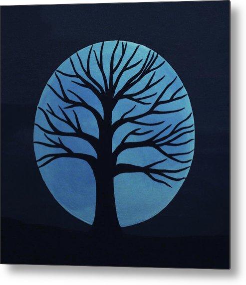 Spooky Tree Blue Metal Print