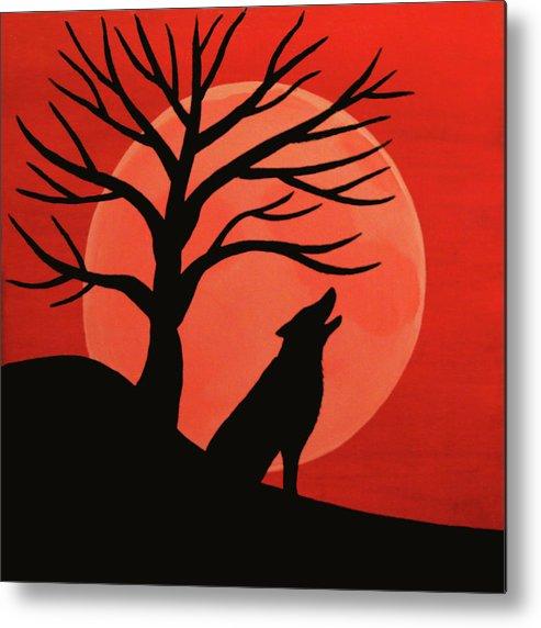 Spooky Wolf Tree Metal Print