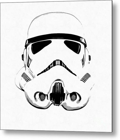 Star Wars Stormtrooper Helmet Graphic Drawing Metal Print