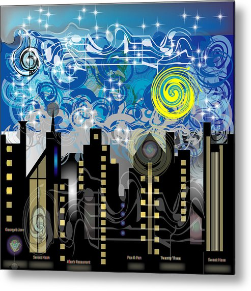 Jazz Metal Print featuring the digital art Starry Night by George Pasini