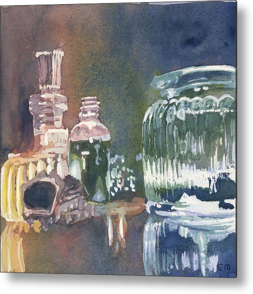 Pouring Metal Print featuring the painting Still Glass Pour by Edward Morden