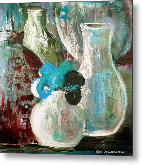 Still Life Metal Print featuring the painting Still Life With A Blue Flower by Gina De Gorna