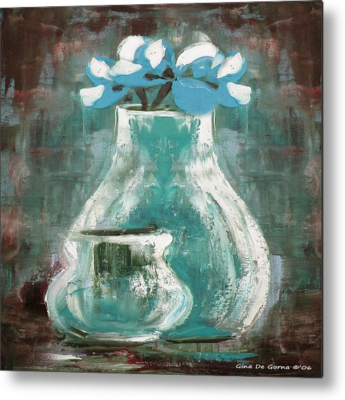 Still Life Metal Print featuring the painting Still Life With Blue Flowers by Gina De Gorna