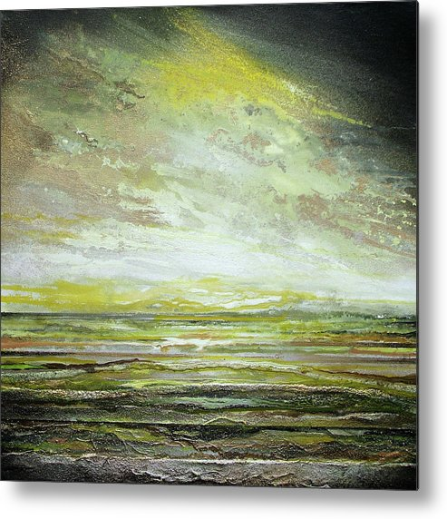 Yellows Metal Print featuring the mixed media Stormsand Beach Textures No2yellow by Mike  Bell