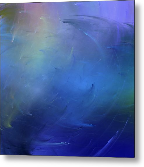 Abstract Metal Print featuring the digital art Stormy Seas Indigo by Wally Boggus