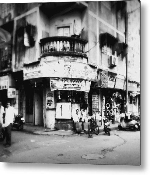 #street Photograohy #crossroads #street Corners #street Shops Metal Print featuring the photograph Streetshots_surat by Priyanka Dave