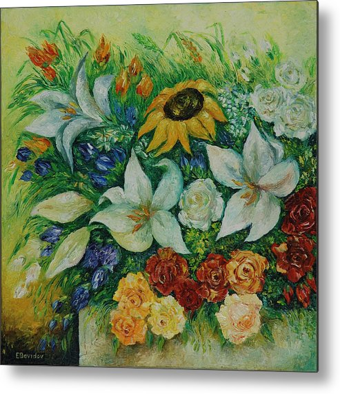Flowers Metal Print featuring the painting Summer Bouquet - Left Part Of Diptych. by Evgenia Davidov