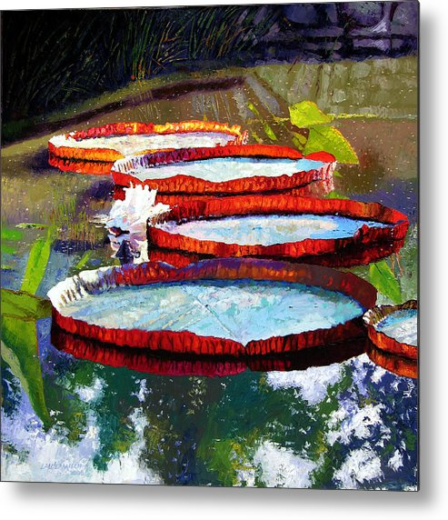 Water Lilies Metal Print featuring the painting Summer Sunlight On Lily Pads by John Lautermilch