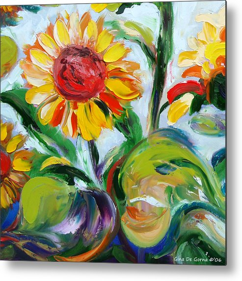 Flowers Metal Print featuring the painting Sunflowers 9 by Gina De Gorna
