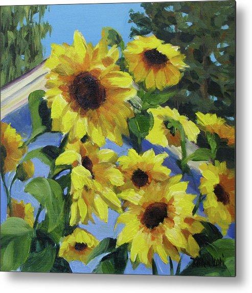 Sunflowers Metal Print featuring the painting Sunflowers by Karen Ilari