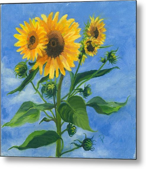 Flowers Metal Print featuring the painting Sunflowers On Bauer Farm by Paula Emery