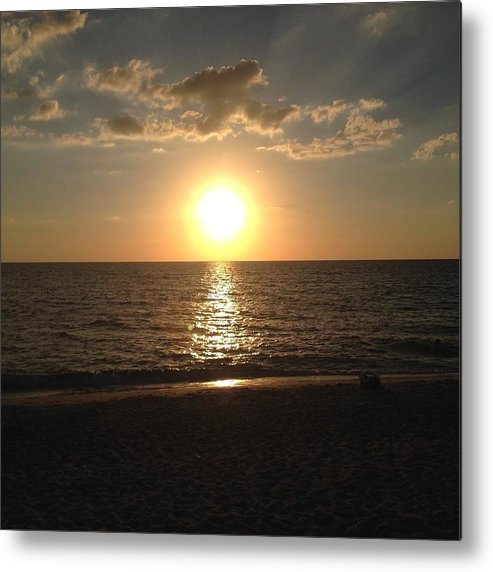 Sunset Over The Ocean In Sanibel Island Metal Print featuring the photograph Sunset On The Gulf Coast by Sandy Bloom