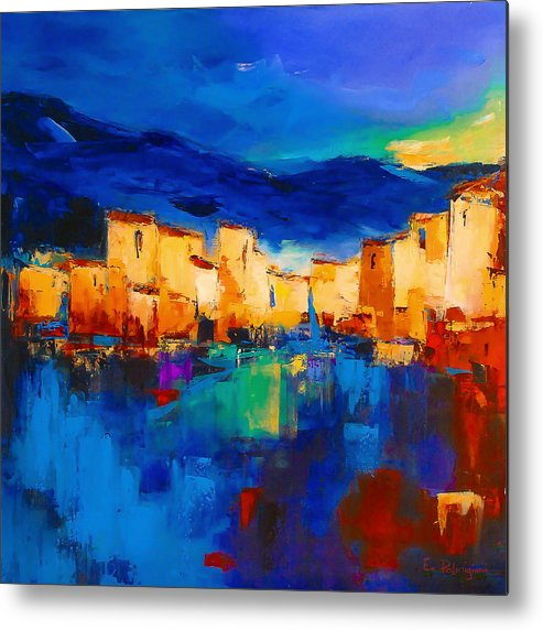 Cinque Terre Metal Print featuring the painting Sunset Over The Village by Elise Palmigiani