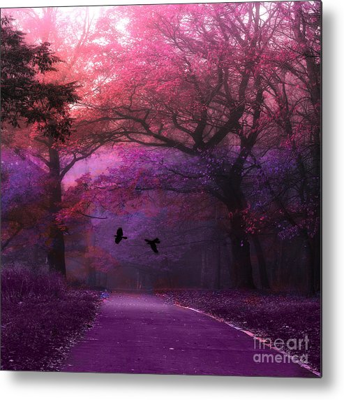 Fantasy Pink Purple Woods Metal Print featuring the photograph Surreal Fantasy Dark Pink Purple Nature Woodlands Flying Ravens by Kathy Fornal