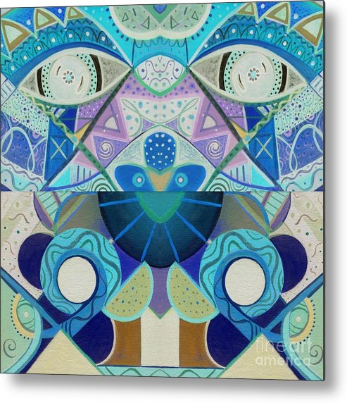 Abstract Metal Print featuring the drawing T J O D Tile Variation 3 Inverted by Helena Tiainen
