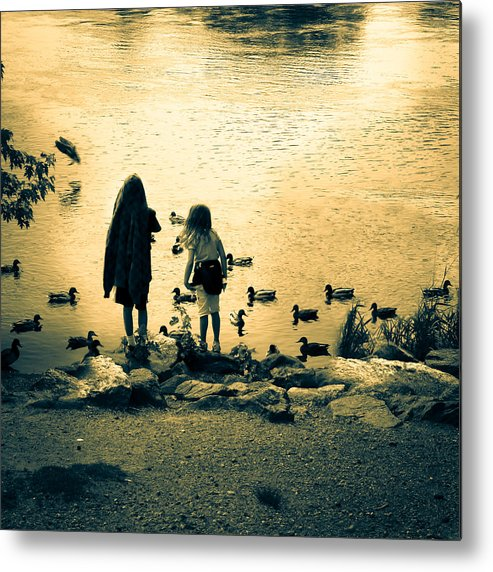 Kids Metal Print featuring the photograph Talking To Ducks by Bob Orsillo
