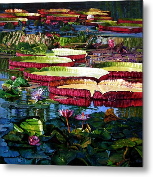 Landscape Metal Print featuring the painting Tapestry Of Color And Light by John Lautermilch