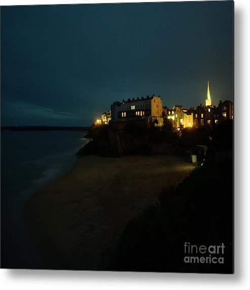 Tenby Metal Print featuring the photograph Tenby By Night by Angel Ciesniarska
