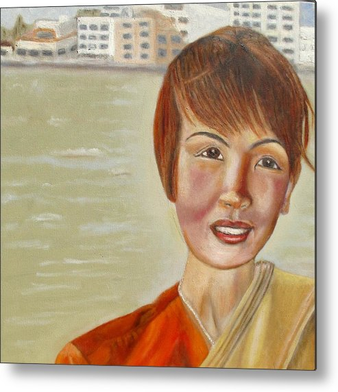 Thai Metal Print featuring the painting Thai Hostess by Keith Bagg