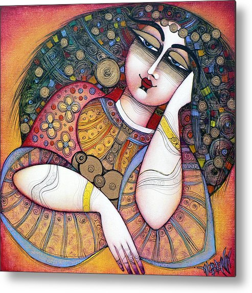 Art Metal Print featuring the painting The Beauty by Albena Vatcheva